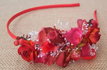 Diadema flores rojo