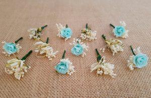 Flores sueltas vintage aguamarina