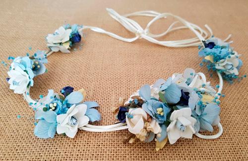 Cordón raso novia hortensias azul