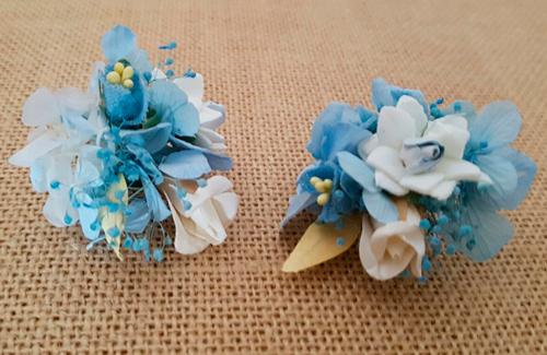 Prendidos solapa caballero hortensias azul