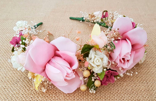 Diadema flores rosa