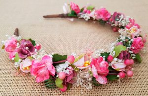 Diadema niña flores rosa