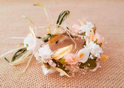 Pulsera tobillera flores tostado