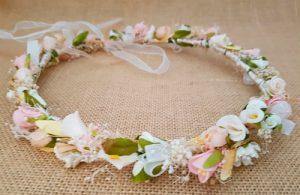 Corona flores marfil y rosa