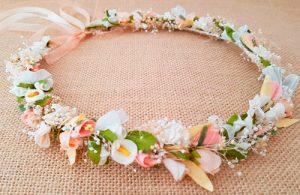 Corona arras marfil rosa