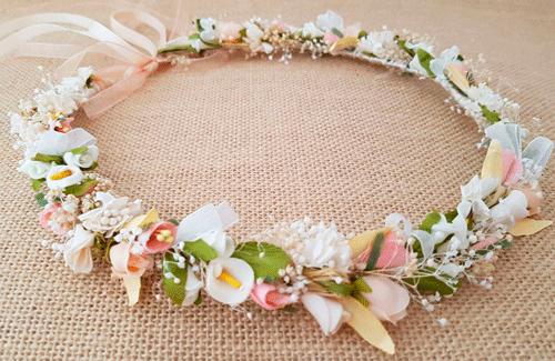 Corona arras marfil y rosa