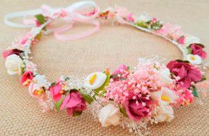 Corona frontal marfil rosa