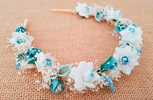 imágenes oficiales real mejor valorado precio bajo Diadema niña flores azul