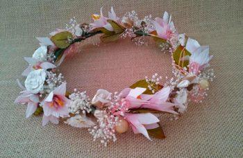 Corona novia ibicenca rosa