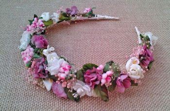 Diadema Flores Rosas y Marfil