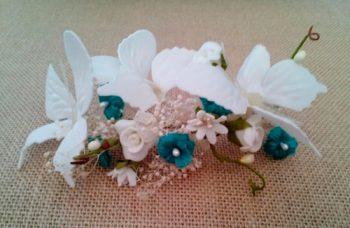Tocado novia mariposas turquesa