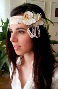 Turbante orquídeas blancas