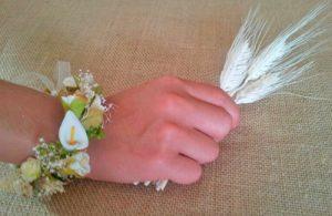Pulsera flores marfil