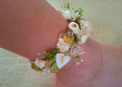 Pulsera-tobillera  flores marfil