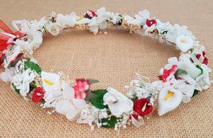 Corona arras blanca y roja