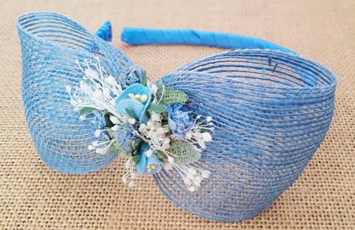 Diadema niña lazo azul