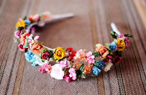 Diadema flores ni a doble flores en el pelo for Hacer diademas nina
