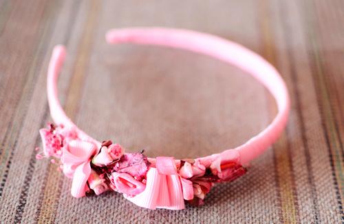 diadema niña rosa palo