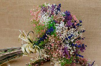ramo de novia lavanda y azul
