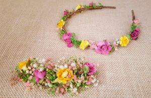 Tocado de flores para su vestido a conjunto