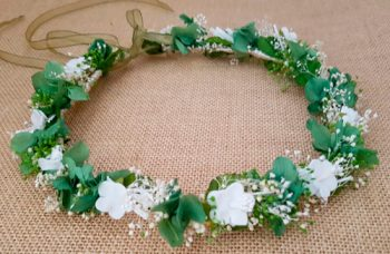 Corona verde hortensias