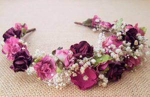 Diadema flores granate y camel