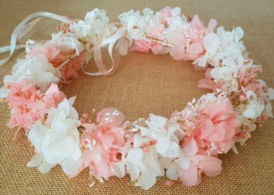 Corona hortensias preservadas rosa