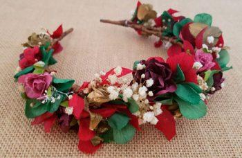 Diadema hortensias verde y granate