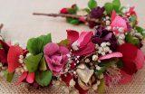 Diadema hortensias verde rojo granate