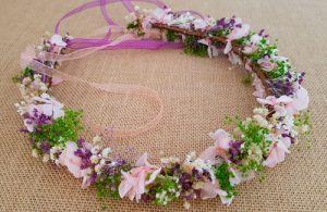 Corona novia lavanda y rosa