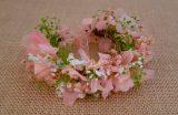 Pulsera o tobillera hortensias rosas