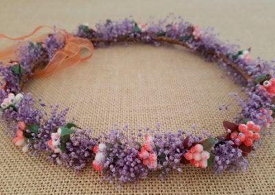 Corona flores secas morada