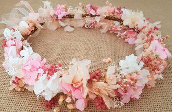 Corona hortensias rosas y marfil
