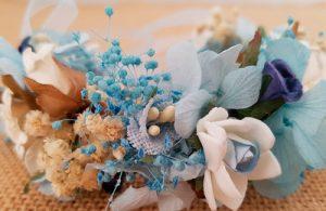 Pulsera tobillera hortensias azul