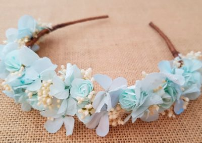 Diadema flores hortensias azules
