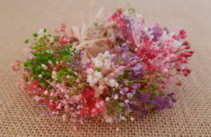 Pulsera tobillera flores secas rosas y granate