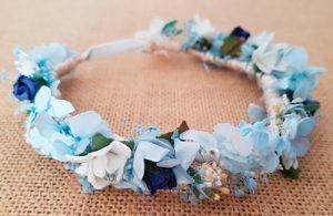 Corona bebe hortensias azules