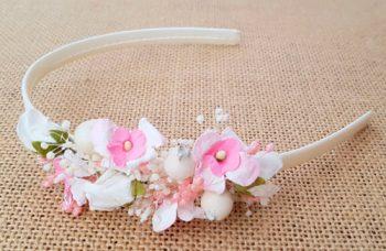Diadema bebe blanca y rosa