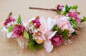 Diadema flores frontal rosa y verde