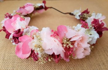 Corona hortensias rosa vintage