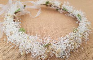 Corona novia marfil tostado